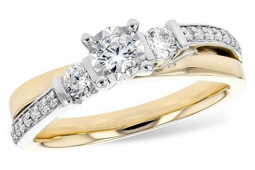 Two Tone Diamond Engagement Ring