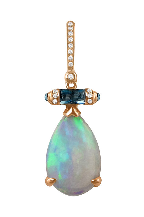 Opal and Swiss Blue Topaz pendant