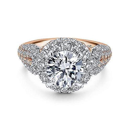 White-Rose Gold Round Halo Diamond Engagement Ring