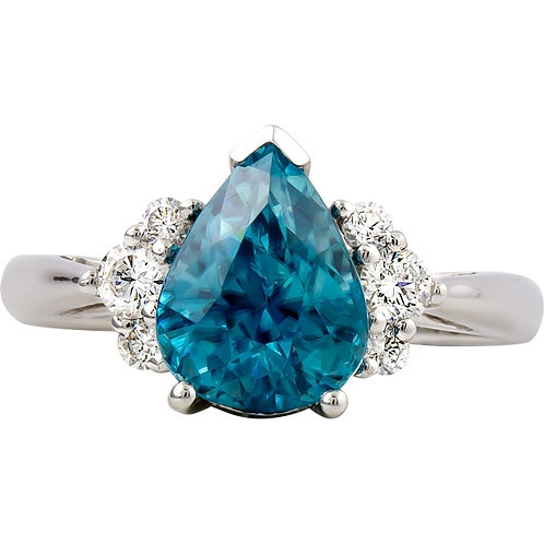 Blue Zircon Diamond Ring