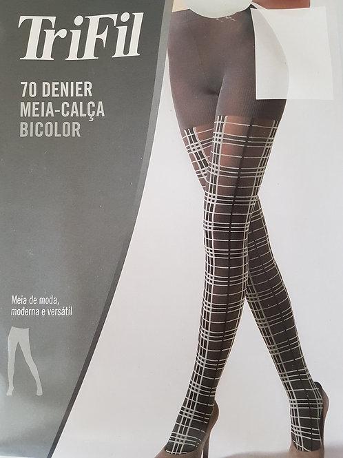 Meia Calça Bicolor Fio 70