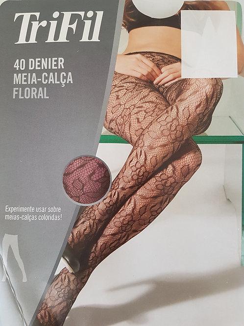 Meia Calça Floral Fio 40
