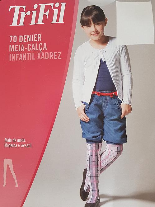Meia Calça Infantil Xadrez Fio 70