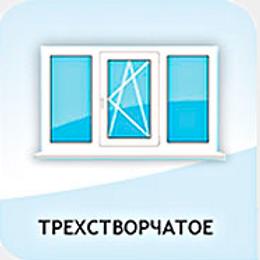 Трехстворчатое окно с двух сторон