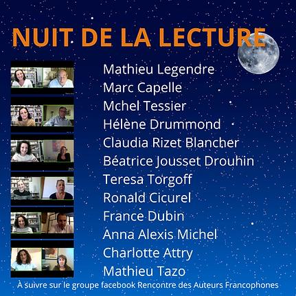 23 janvier 2021 Nuit de la Lecture avec