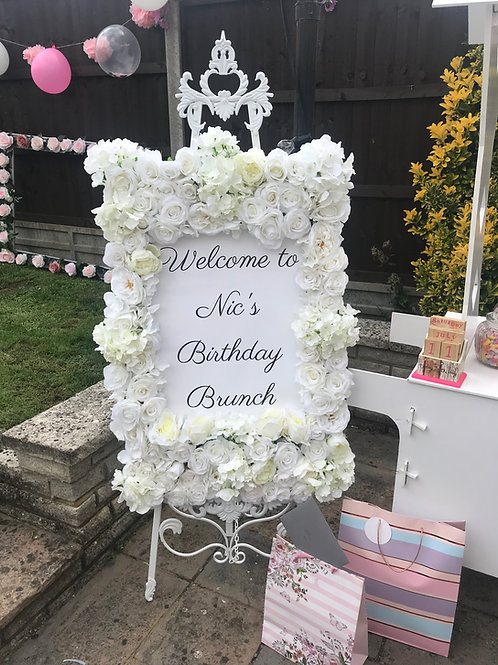Personalised Floral Frame & Easel Hire