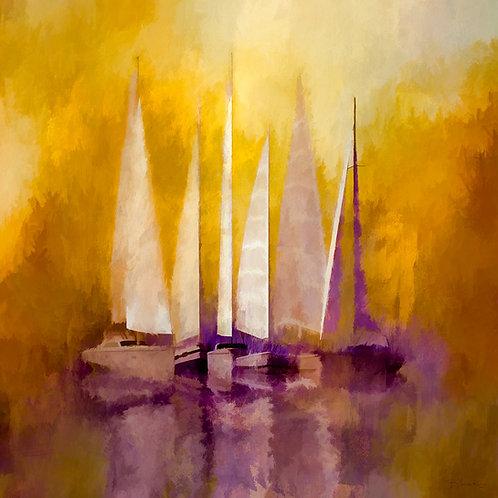 Yellow and Purple Sailboats