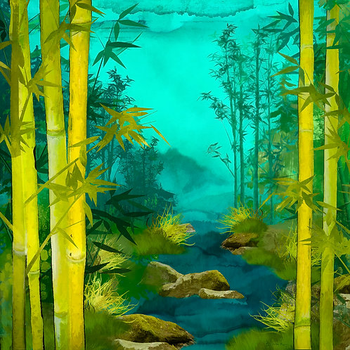 Green and Teal Bamboo Scene