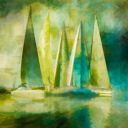 Yellow and Teal Sailboats