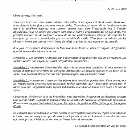 Communiqué / Covid-19