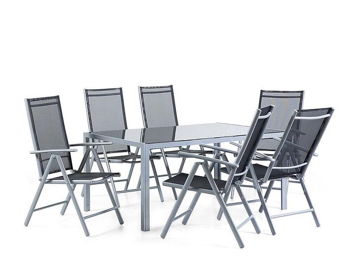 Gartenmöbel Set Aluminium schwarz 6-Sitzer