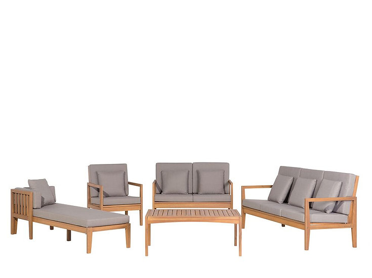Lounge Set Akazienholz hellbraun 7-Sitzer Auflagen grau