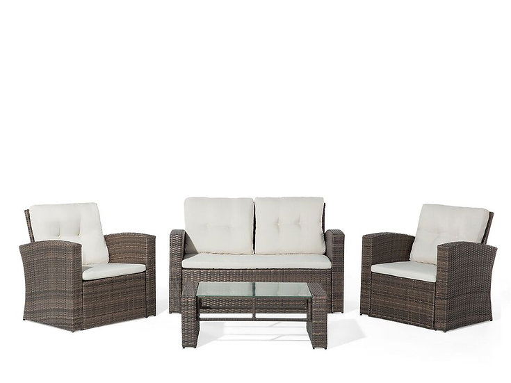 Lounge Set Rattan dunkelbraun 4-Sitzer