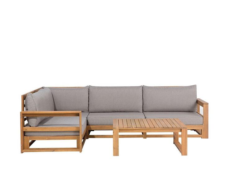 Lounge Set Akazienholz hellbraun 4-Sitzer Auflagen grau