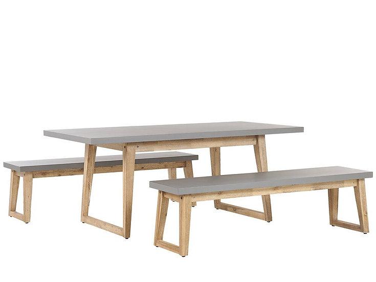Gartenmöbel Set Beton / Akazienholz grau Tisch mit 2 Bänken