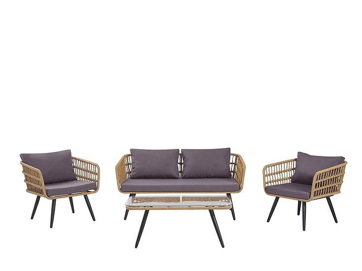 Lounge Set Rattan natürlich 4-Sitzer Auflagen graphitgrau