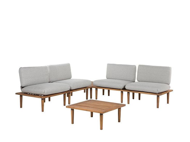 Lounge Set Akazienholz hellbraun 4-Sitzer Auflagen hellgrau