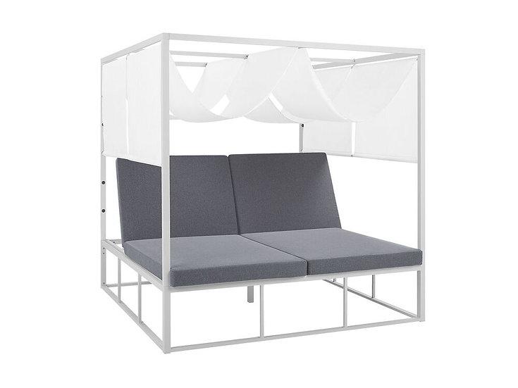 Sonnenbett mit Sonnendach Aluminium weiß Auflagen grau verstellbar