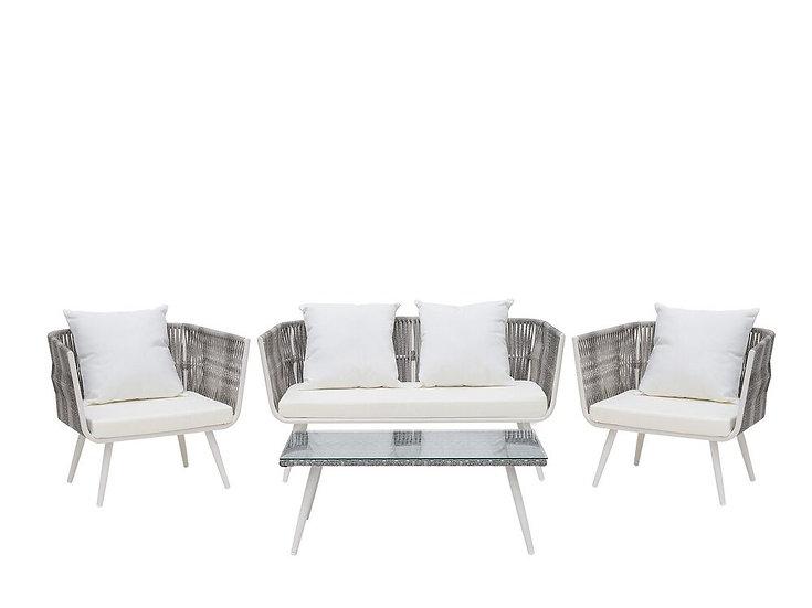 Lounge Set Rattan meliert 4-Sitzer Auflagen
