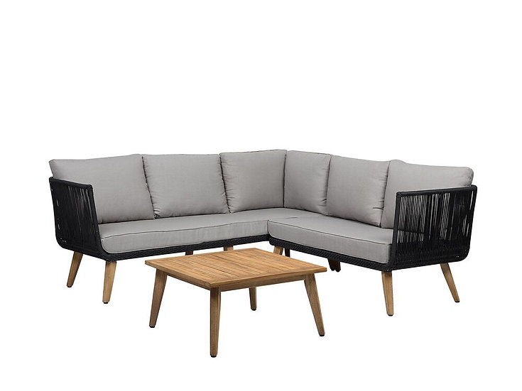 Lounge Set Akazienholz hellbraun 5-Sitzer Auflagen taupe