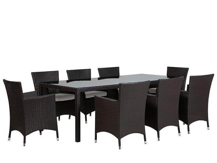 Gartenmöbel Set Rattan dunkelbraun 8-Sitzer Auflagen
