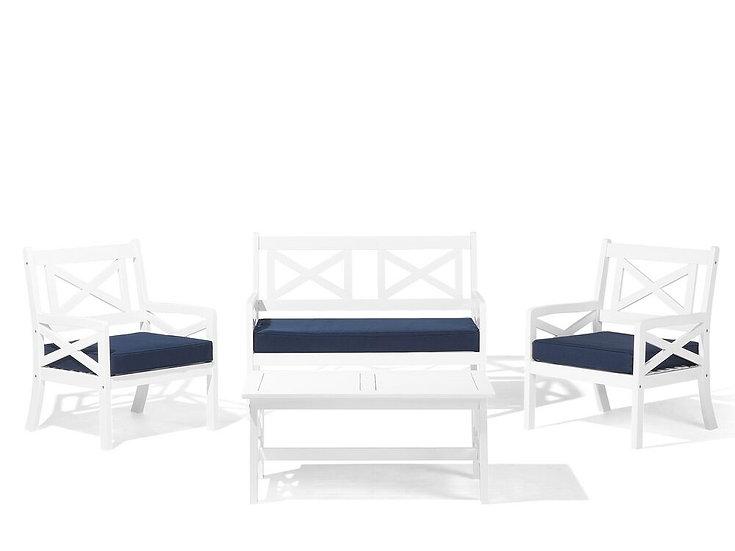 Lounge Set Akazienholz weiß 4-Sitzer Auflagen marineblau
