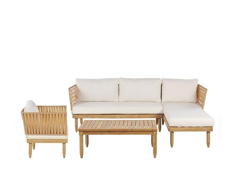 Lounge Set Akazienholz hellbraun 4-Sitzer Auflagen cremeweiß