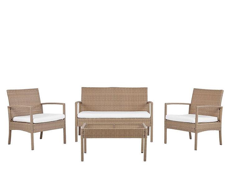 Lounge Set Rattan hellbraun 4-Sitzer Auflagen cremeweiß