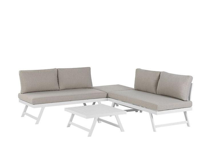 Gartenmöbel Set Aluminium 5-Sitzer Auflagen taupe