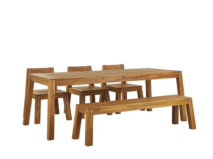 Gartenmöbel Set Akazienholz hellbraun 6-Sitzer 5-teilig