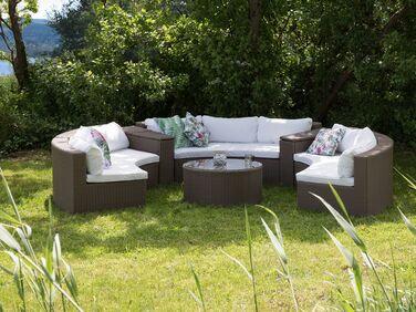 Lounge Set Rattan hellbraun 9-Sitzer rund Auflagen weiß