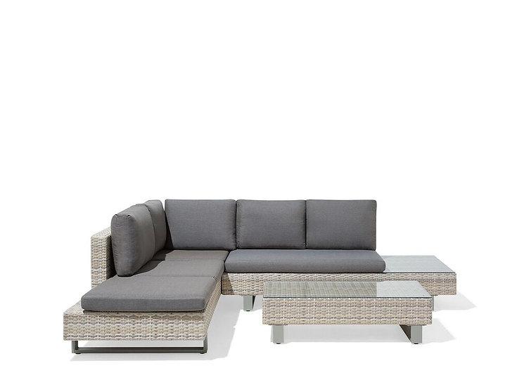 Lounge Set Rattan hellbraun 5-Sitzer Auflagen grau