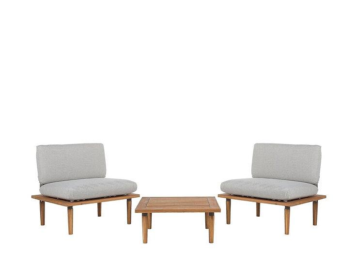 Lounge Set Akazienholz hellbraun 2-Sitzer Auflagen hellgrau