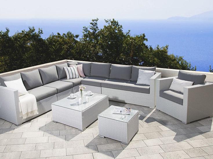 Lounge Set Rattan weiß 8-Sitzer Auflagen grau
