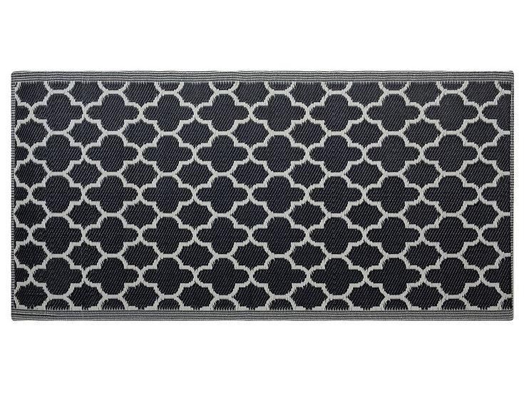 Outdoor Teppich schwarz 90 x 180 cm marokkanisches Muster zweiseitig
