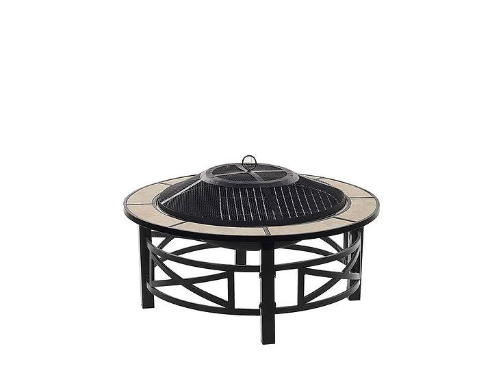 Feuerstelle schwarz Stahl Keramik rund