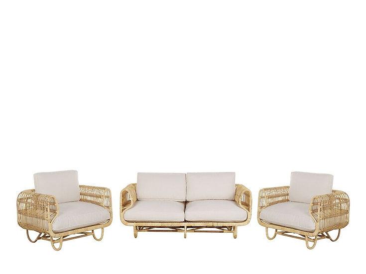 Gartenmöbel Set Rattan natürlich 4-Sitzer