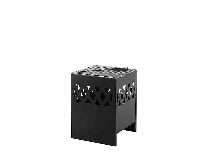 Feuerstelle schwarz Stahl quadratisch