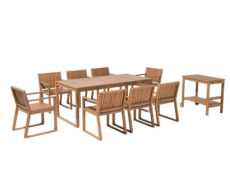 Gartenmöbel Set Akazienholz hellbraun 8-Sitzer 10-teilig