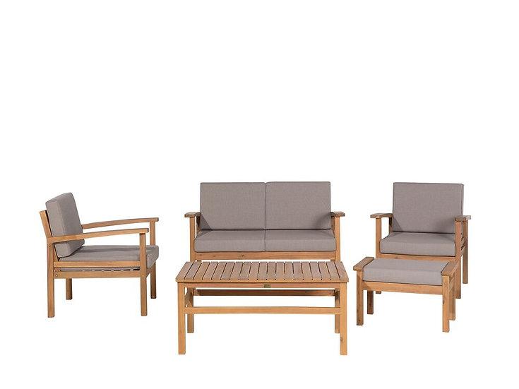 Lounge Set Akazienholz hellbraun 4-Sitzer Auflagen taupe