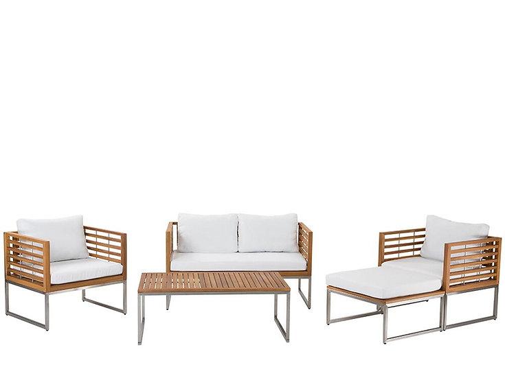 Lounge Set Akazienholz hellbraun 4-Sitzer Auflagen weiß