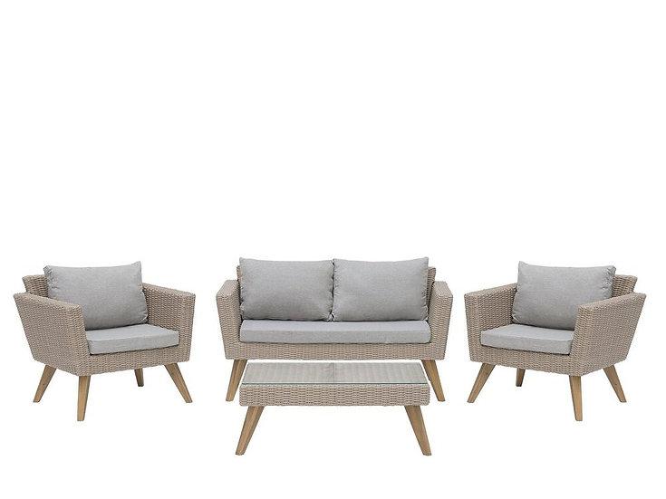 Lounge Set Rattan braun 4-Sitzer Auflagen grau