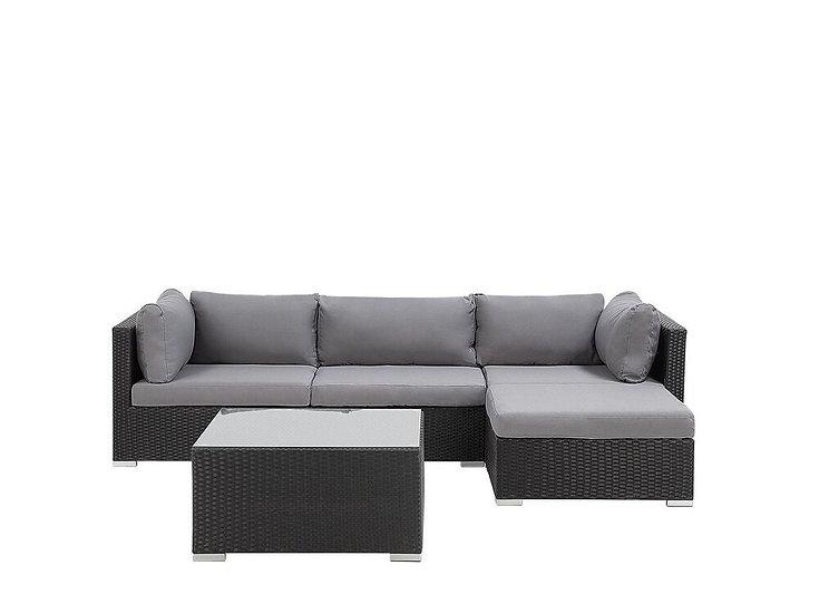 Lounge Set Rattan schwarz 4-Sitzer