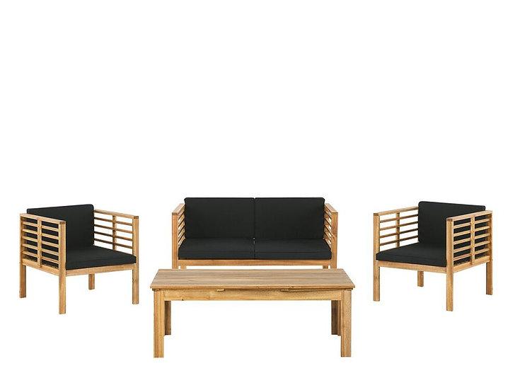 Lounge Set Akazienholz hellbraun 4-Sitzer Auflagen schwarz