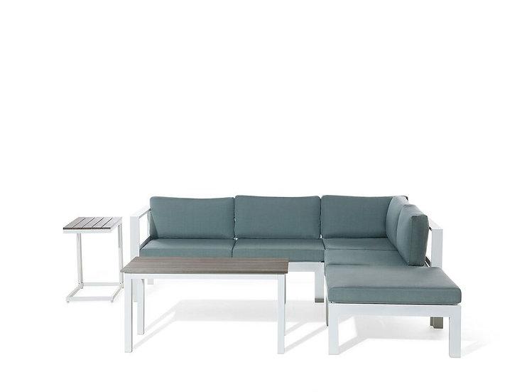 Lounge Set Kunstholz weiß 5-Sitzer Auflagen grün-grau