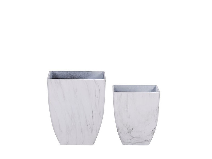 Blumenkübel 2er Set weiß Marmor Optik