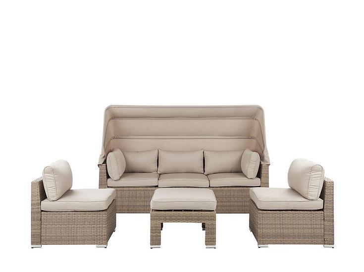 Lounge Set Rattan braun Auflagen beige modular 6-Sitzer