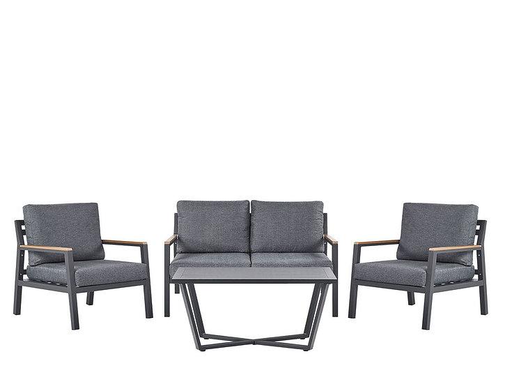 Lounge Set Aluminium 4-Sitzer Auflagen dunkelgrau