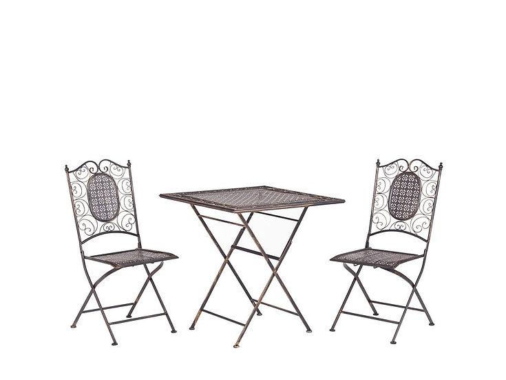 Balkonset schwarz Metall 2 Stühle Klapptisch