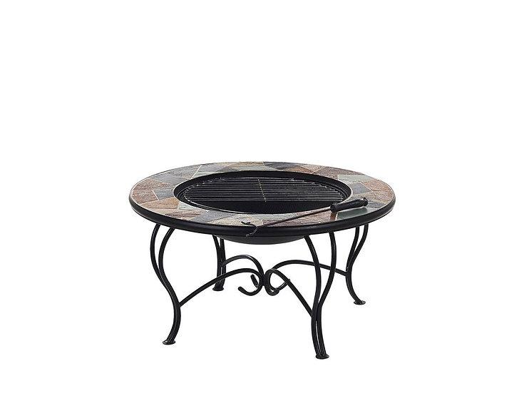 Feuerstelle mit Tisch schwarz Stahl Mosaik rund
